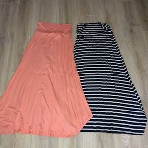Dresses & Skirts - MAXI SKIRTS BUNDLE NAVY AND WHITE AND CORAL
